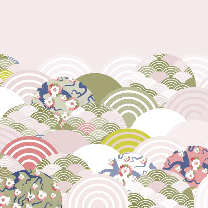 Free Fish Scales Simple Nature Background With Japanese Sakura Flower, Rosy Pink Cherry, Wave Circle Pattern Red Olive Green Pink Beige Stock Images - 108934314