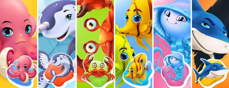 Fish and sea animals. Shark, octopus, jellyfish, crab, narwhal. Cartoon character 3d vector set royalty free illustration
