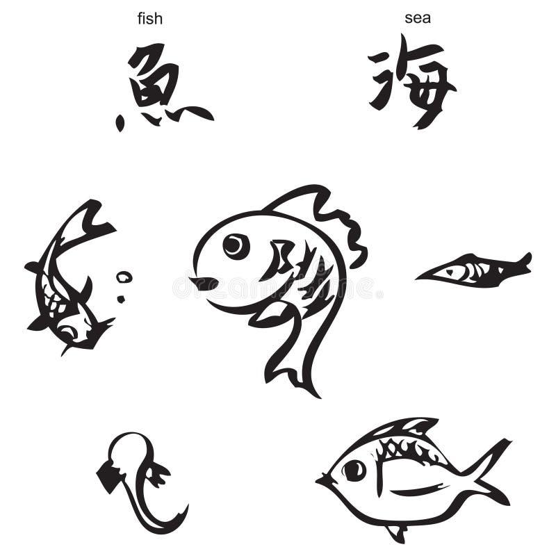 Fish, sea - chinese calligraphy stock illustration