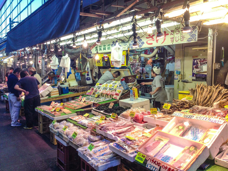 Fish and sea food store in Tokyo royalty free stock photo
