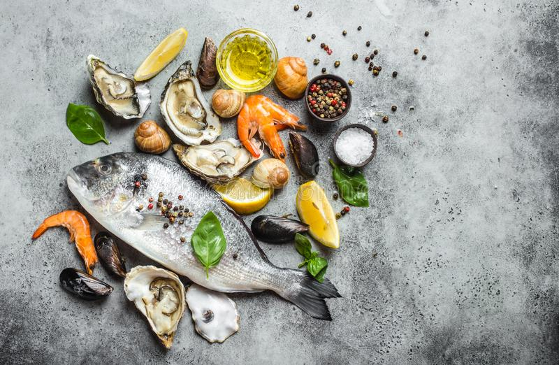 Fish and seafood assortment royalty free stock photo