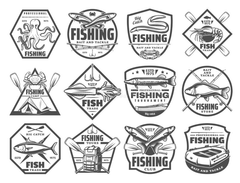 Fish and seafood fishing club vector icons royalty free illustration