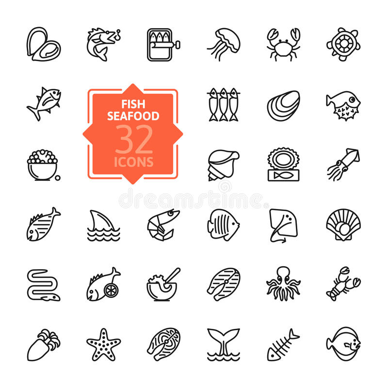Fish and seafood - outline icon collection, vector. Thin lines web icons collection vector illustration