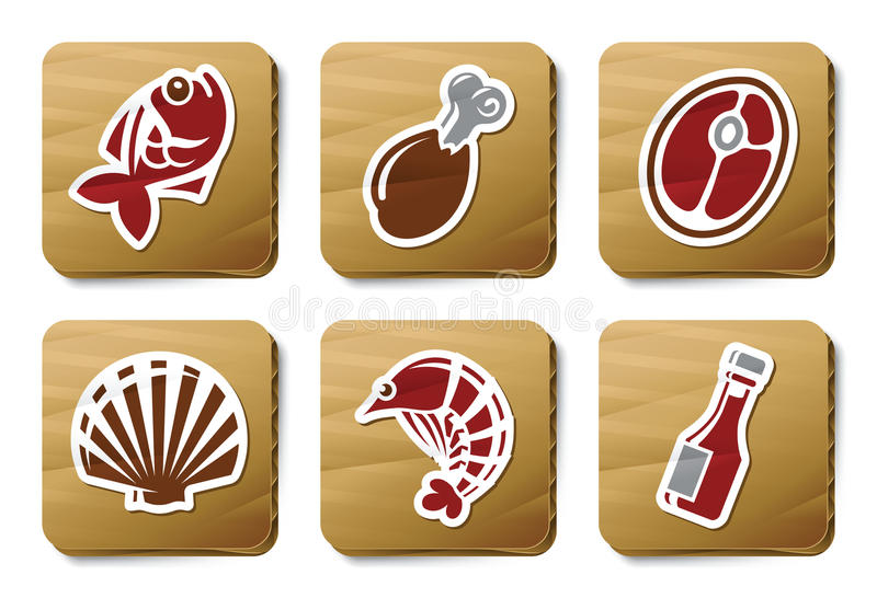 Fish, Seafoods and Meat icons | Cardboard series royalty free illustration