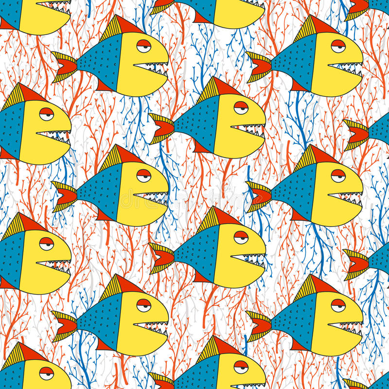 Fish seamless pattern. Cute hand drawn fish pattern made in vector. Fun sea life texture for your design. Can be used for websites, banners, invitations and any stock illustration