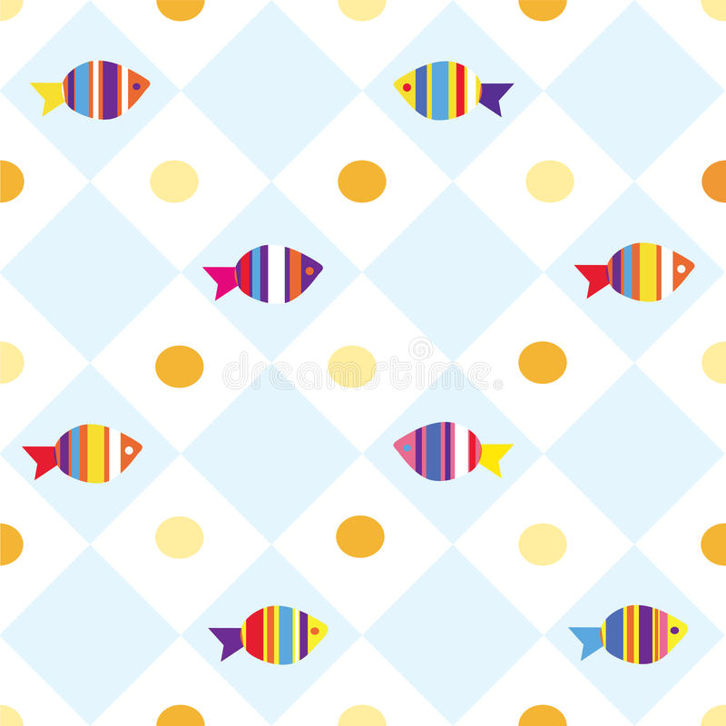 Fish seamless plaid pattern vector illustration