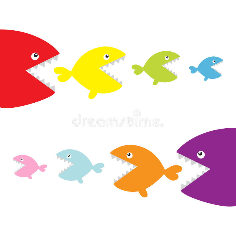 Fish set eating each other. food chain. Cute cartoon colorful character. Baby kids collection. White background. Isolated. Flat de. Sign. Vector illustration stock illustration