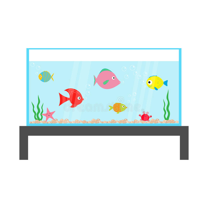 Fish set swimming at aquarium. Star, crab, seaweed, stones, bubbles, water waves. Fish tank on the table. Shining glass. Baby kids collection. Cute cartoon vector illustration
