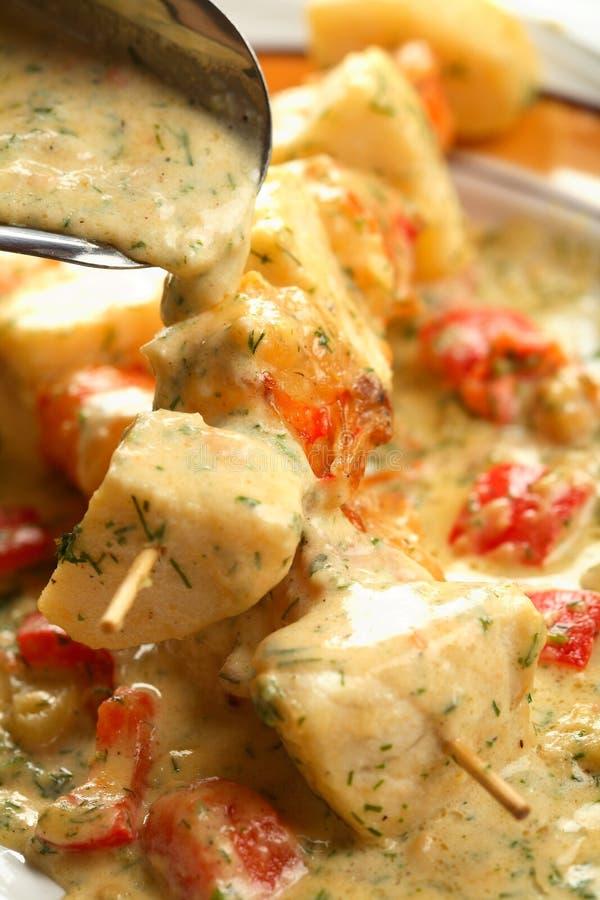 Fish shashlik stock photo
