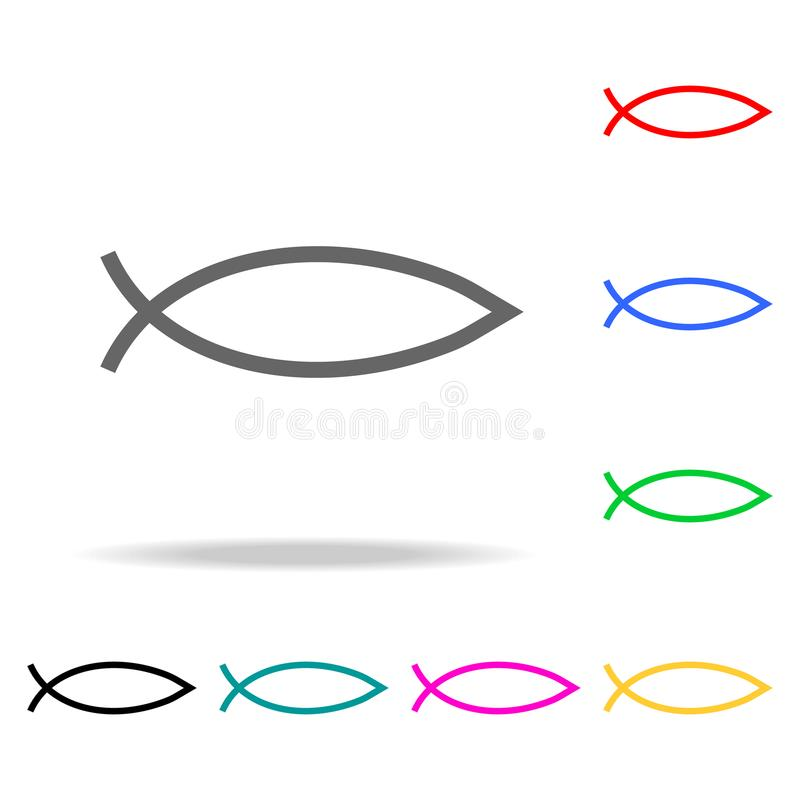 Fish sign. Christianity Ichthys Fish symbol icon. Elements in multi colored icons for mobile concept and web apps. Icons for websi stock illustration