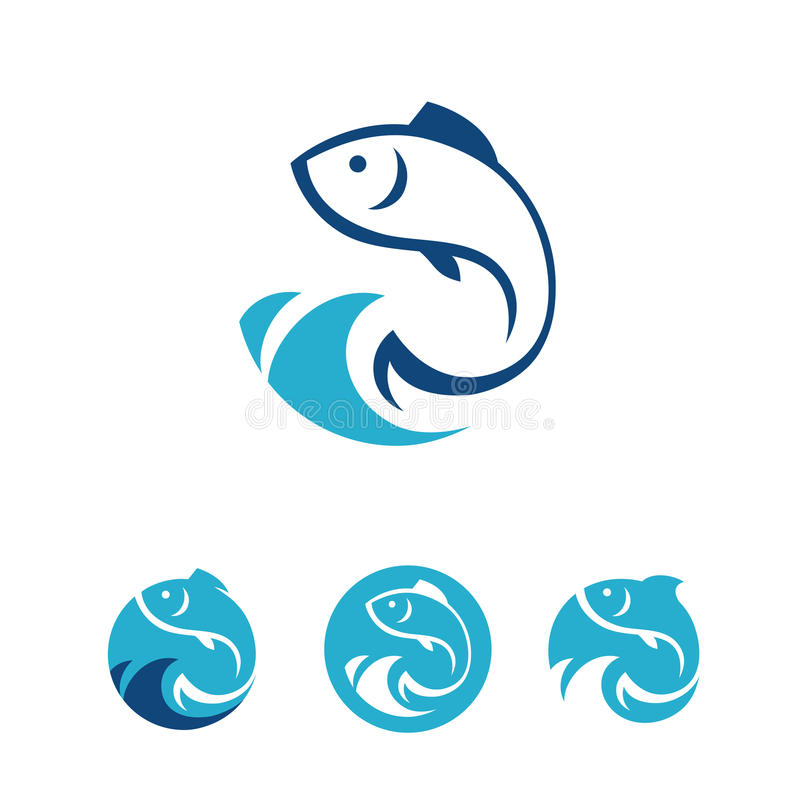 Fish signs. Four blue round signs with fish in vector