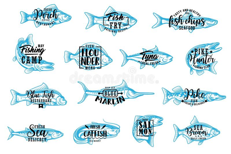 Seafood and fishing sport lettering icons. Fish silhouette isolated icons with lettering. Vector seafood and fishing club, perch and fry fish chips, flounder and stock illustration