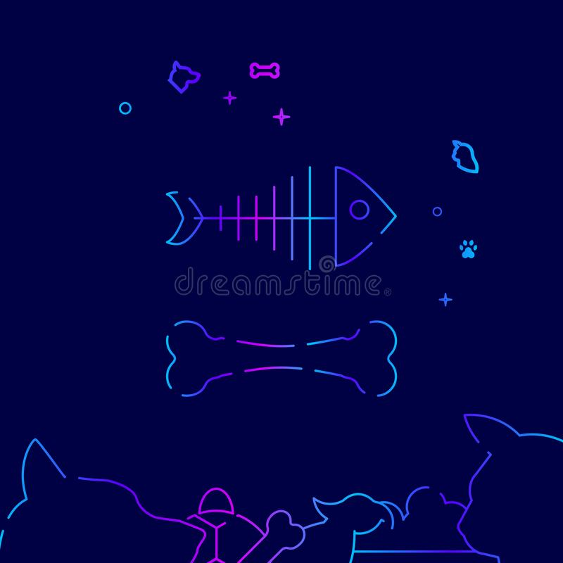 Fish Skeleton, Dog Bone Vector Line Icon, Illustration on a Dark Blue Background. Related Bottom Border royalty free illustration