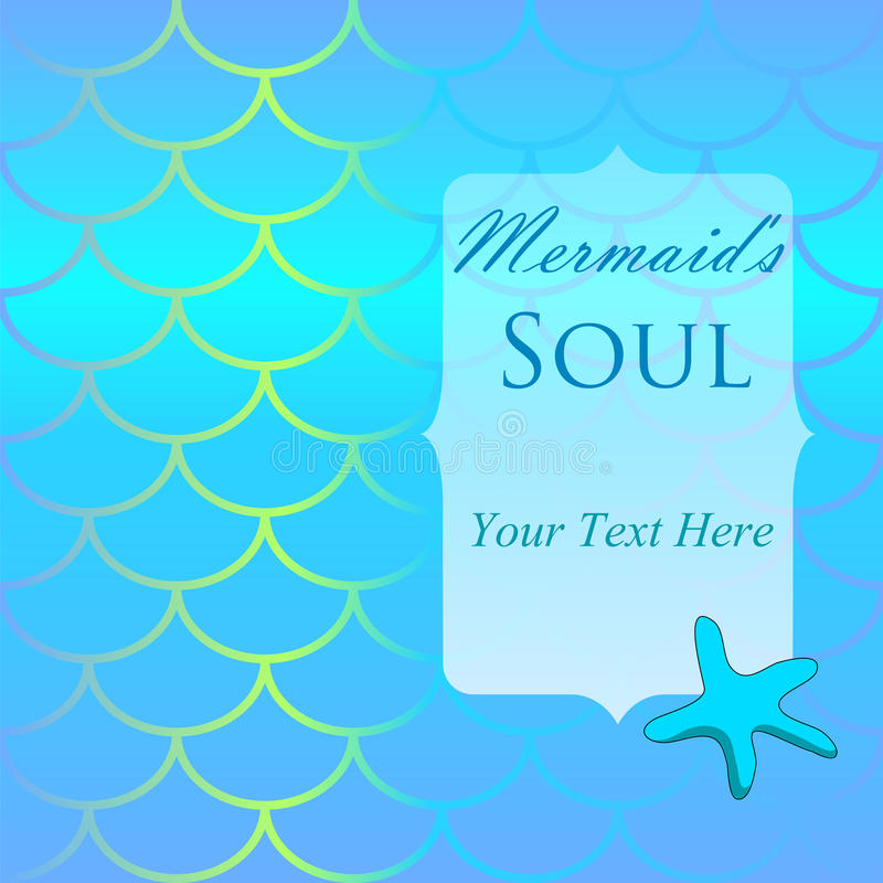 Fish skin pattern with starfish and place for text. Mermaid tail background with star and place for text. royalty free illustration