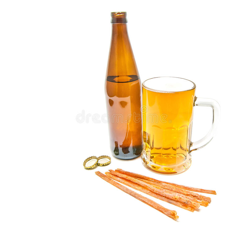 Fish snack and glass of beer royalty free stock images