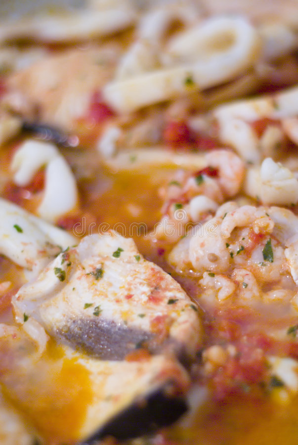 Fish soop. Close up of a fish's soup famous in Tuscany royalty free stock image