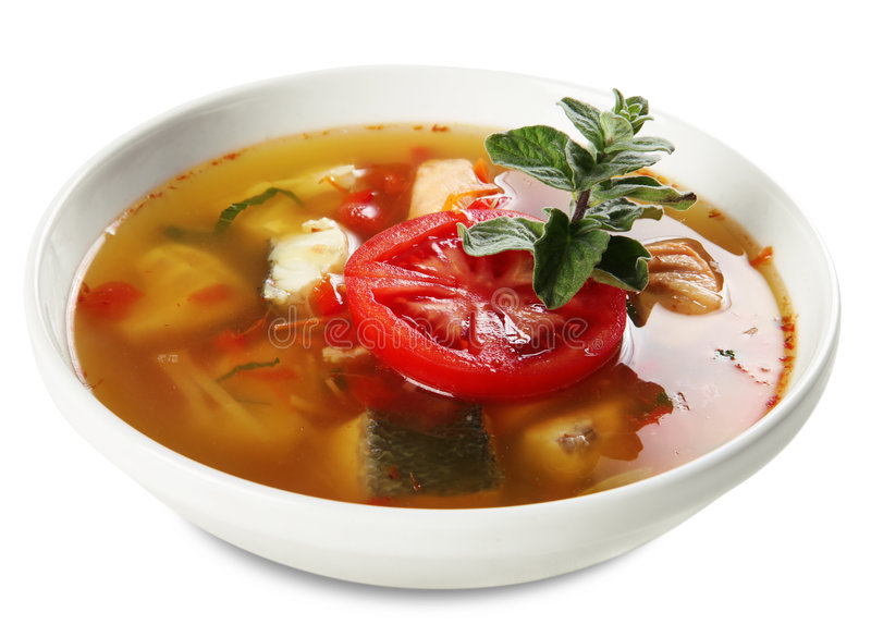 Download Fish soup stock photo. Image of condiments, greens, fish - 5300732