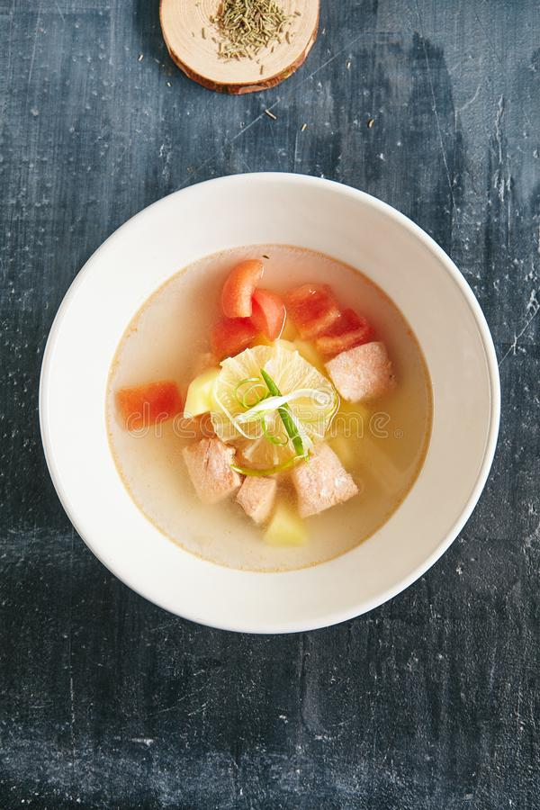 Fish Soup Bouillabaisse with Salmon or Trout royalty free stock images