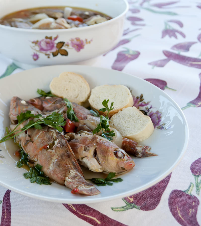 Fish soup in a plate