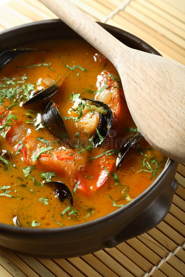 Download Fish soup with seafood stock image. Image of healthy, flavor - 2058837
