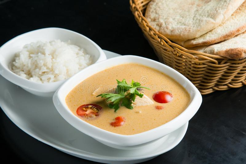 Fish soup with sour cream stock image