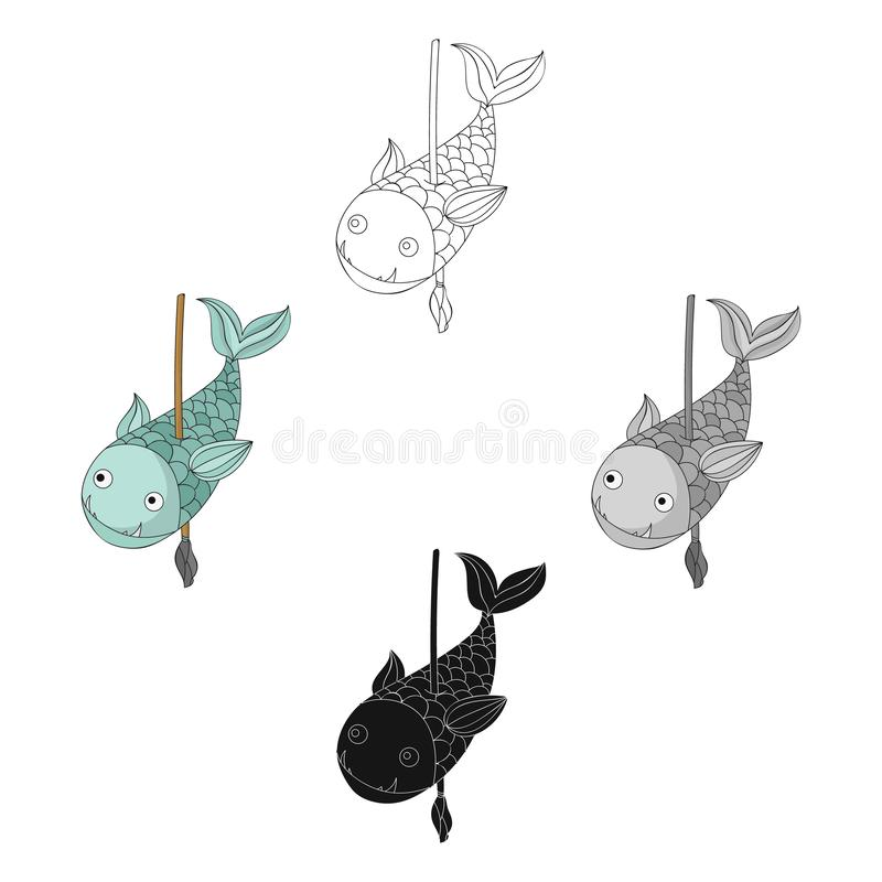 Fish on the spear icon in cartoon,black style isolated on white background. Stone age symbol stock vector illustration. Fish on the spear icon in cartoon,black stock illustration