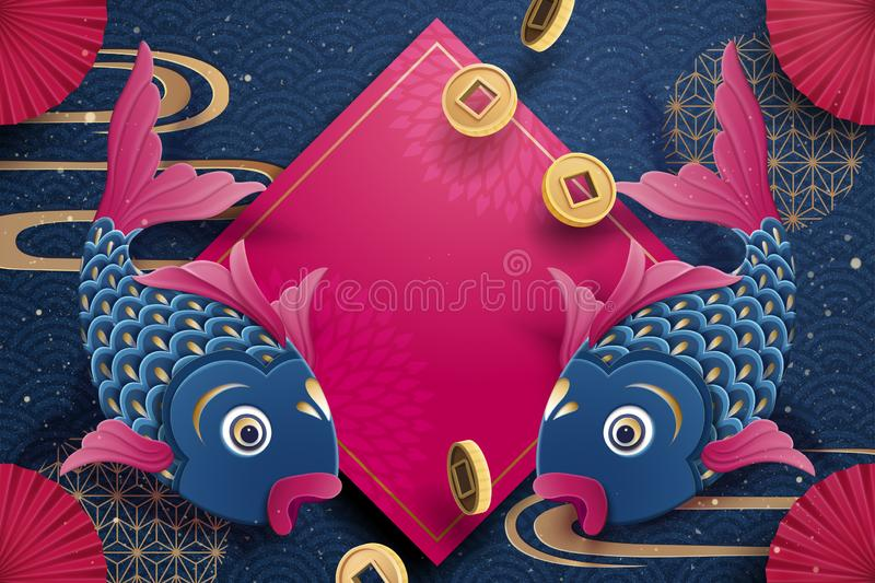 Fish and spring couplet elements in paper art style, Chinese new year greeting card stock illustration