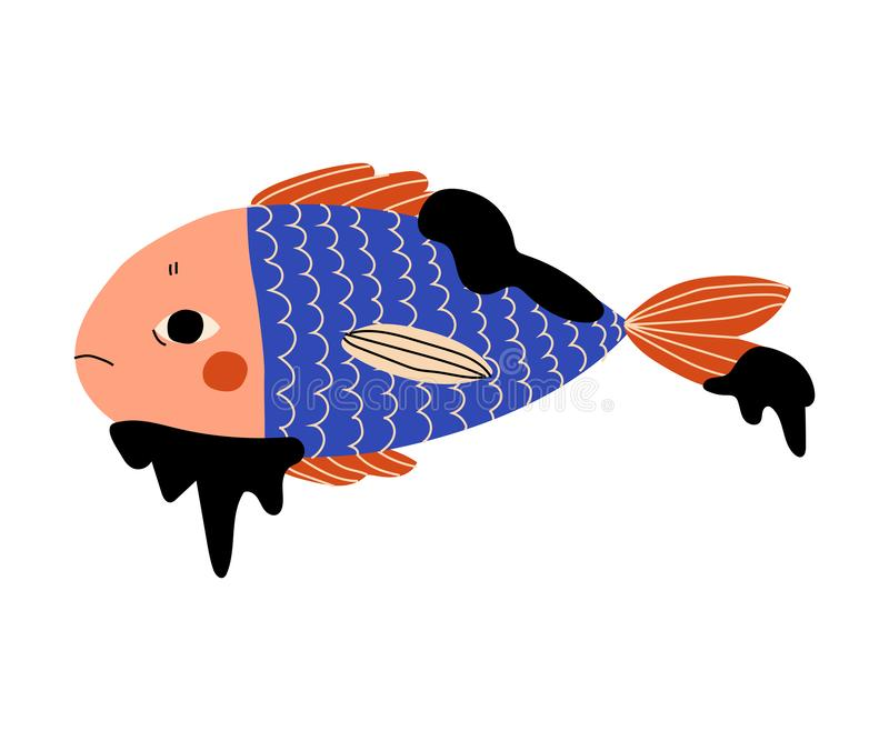 Fish Stained with Oil Waste, Ecological Disastrous Problem, Pollution of Water with Oil, Toxic Waste and Chemicals royalty free illustration