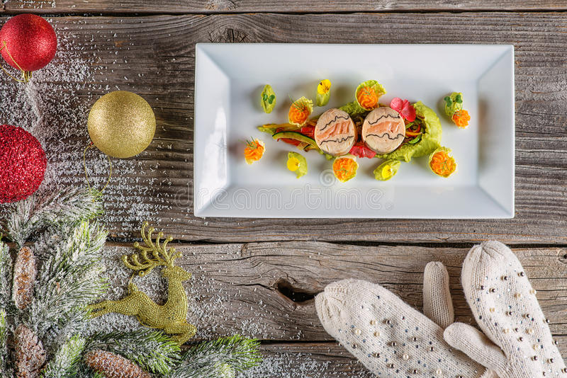 Download Fish Starter Food On White Plate With Christmas Decoration. Product Photography And Modern Gastronomy & Fish Starter Food On White Plate With Christmas Decoration. Product ...