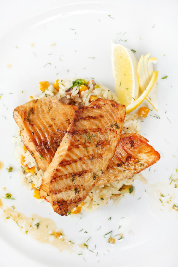 Free Fish Steak With Rice Royalty Free Stock Image - 26872636