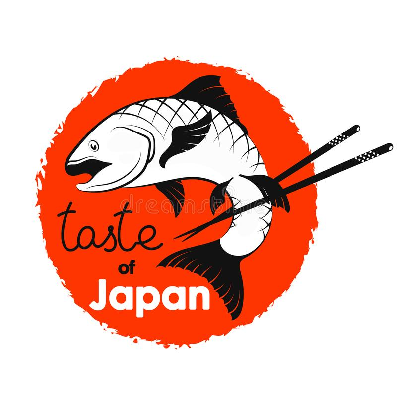 Fish and sticks japanese food. Vector stock illustration