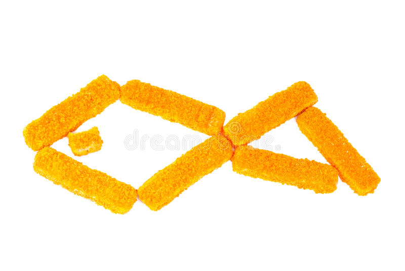Fish sticks. On a white background stock images