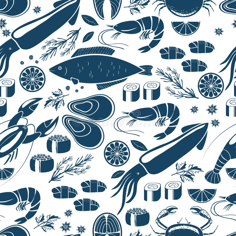 Fish sushi and seafood seamless background. Patter in blue and white vector icons of calamari lobster crab sushi shrimp prawn mussel salmon steak lemon and vector illustration