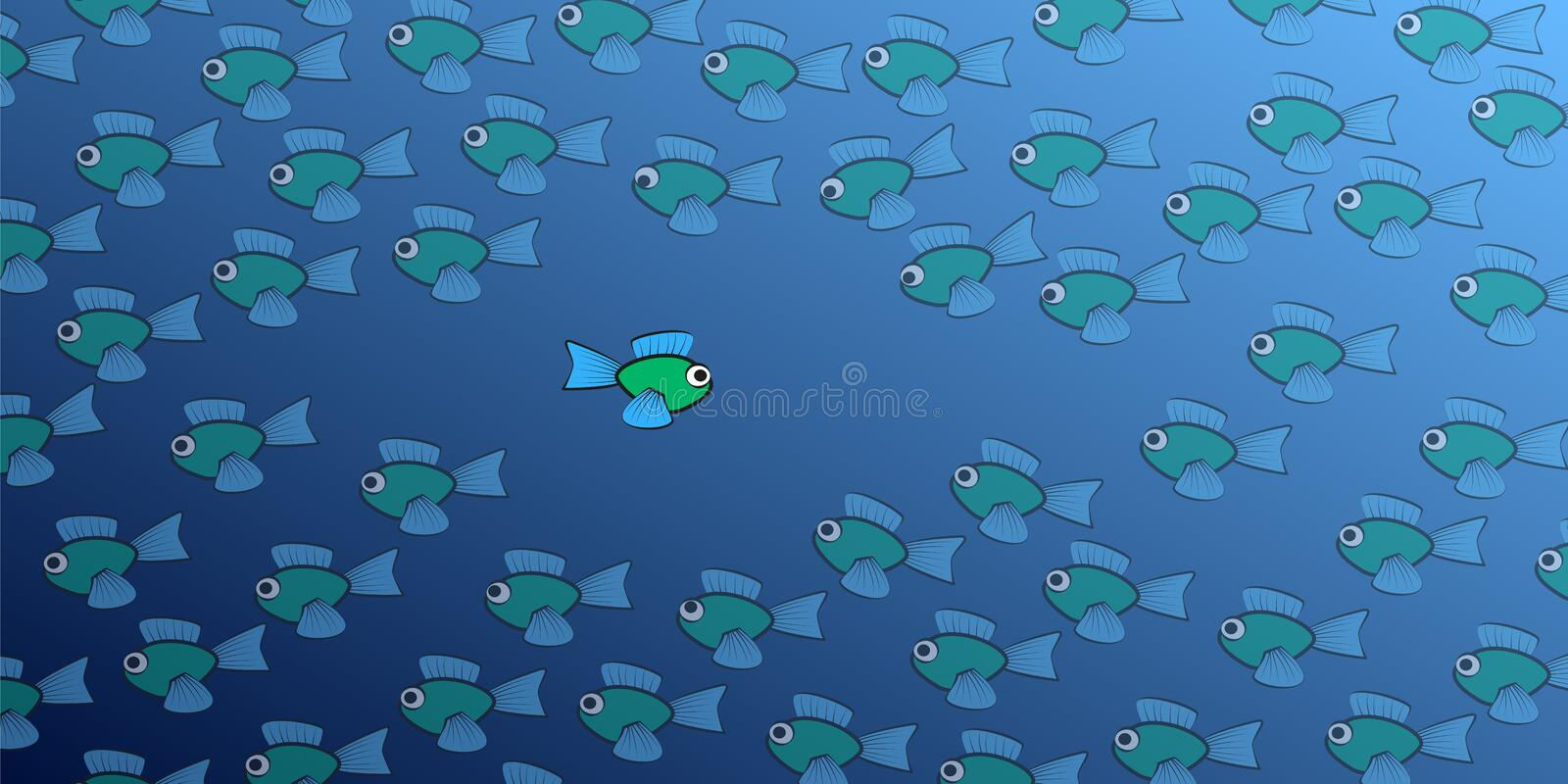 Fish Swimming Against The Tide Comic Stock Vector Illustration Of