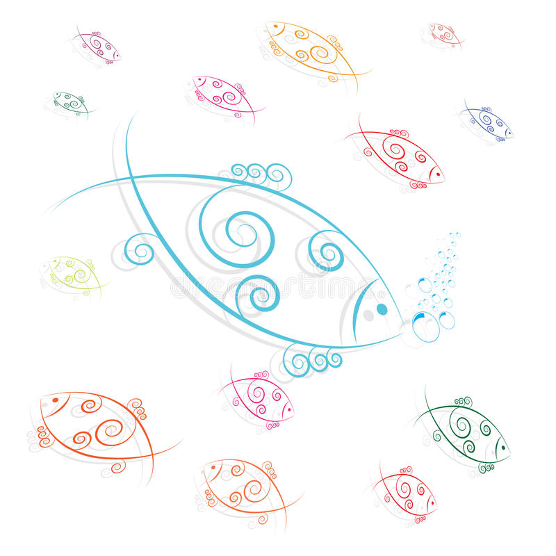 Fish swimming and blowing bubbles. Vector vector illustration