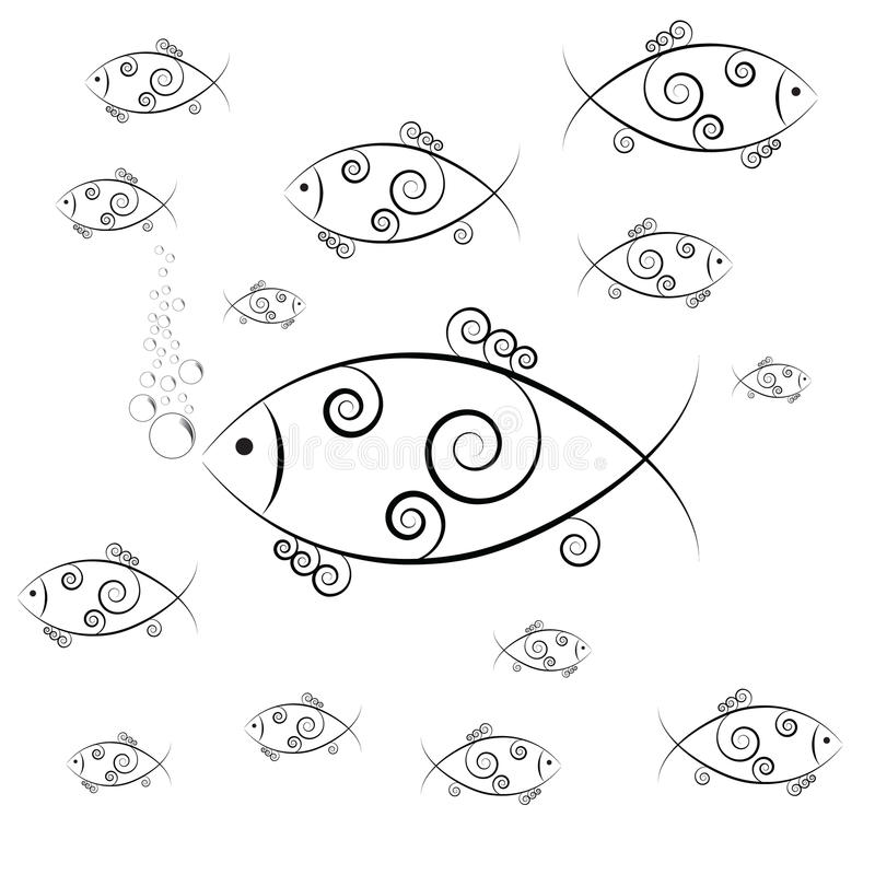 Fish swimming and blowing bubbles. Vector image royalty free illustration