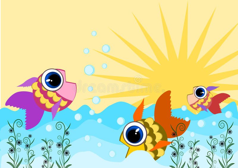 Fish swimming. Fish jumping and swimming on water vector stock illustration