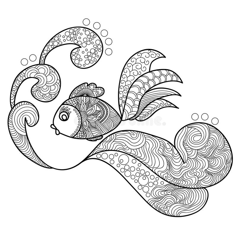 Fish swimming over the waves. Doodles art. Printing on T-shirts, banners, posters, cover. Coloring page book for adults and children vector illustration