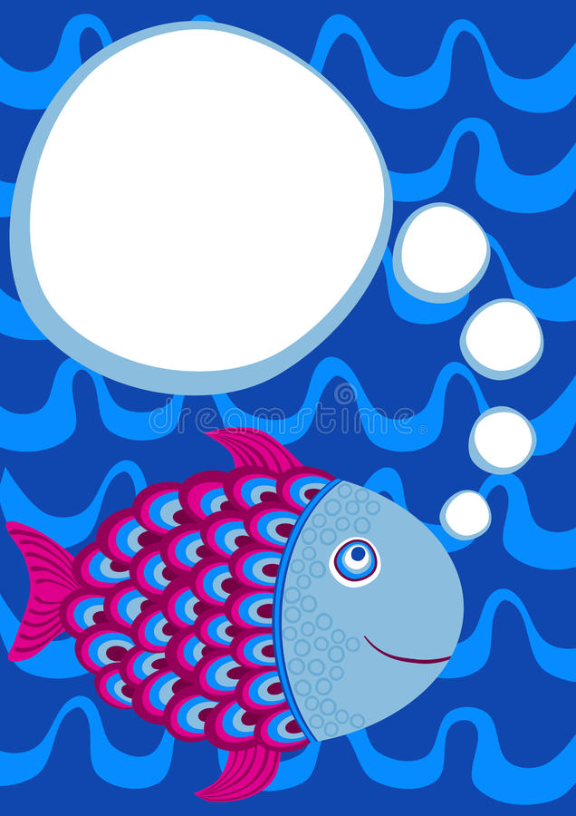 Fish Swimming Party Invitation Card. Invitation card with a fish swimming and a thought bubble to write message vector illustration