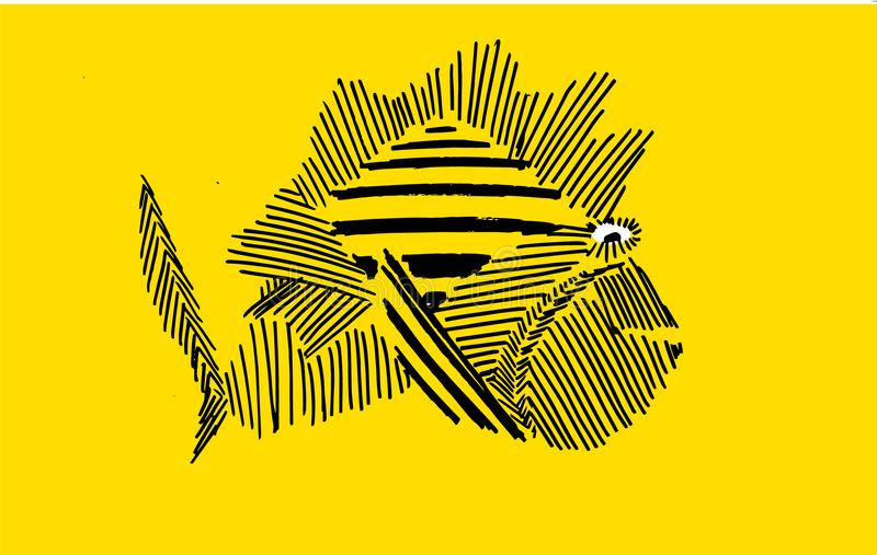 Fish swimming in the sea. Yellow background stock illustration