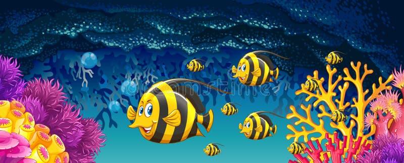 Fish swimming under the ocean. Illustration stock illustration