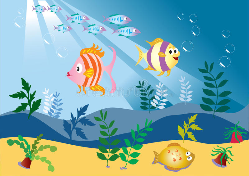 Fish swimming underwater stock vector illustration of for Dream of fish swimming