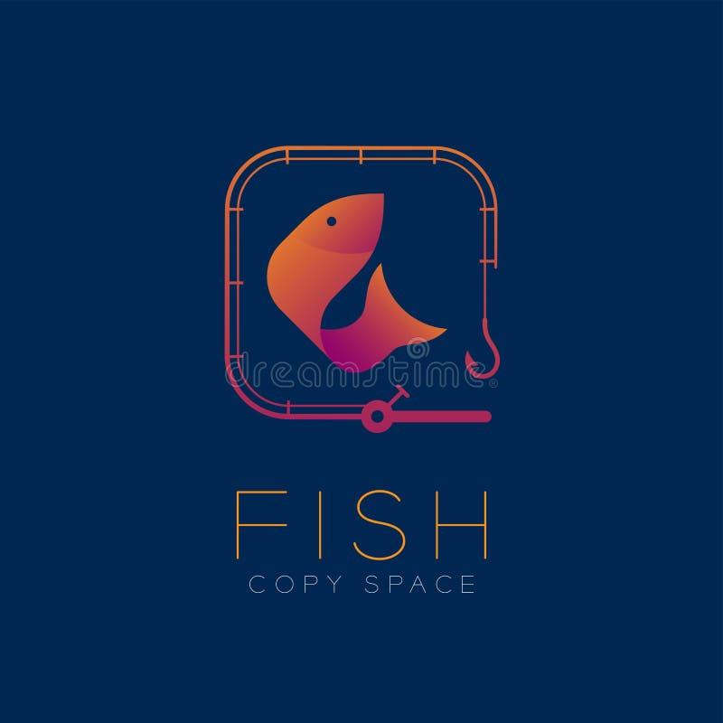 Fish symbol icon and fishing rod set orange violet gradient vector illustration