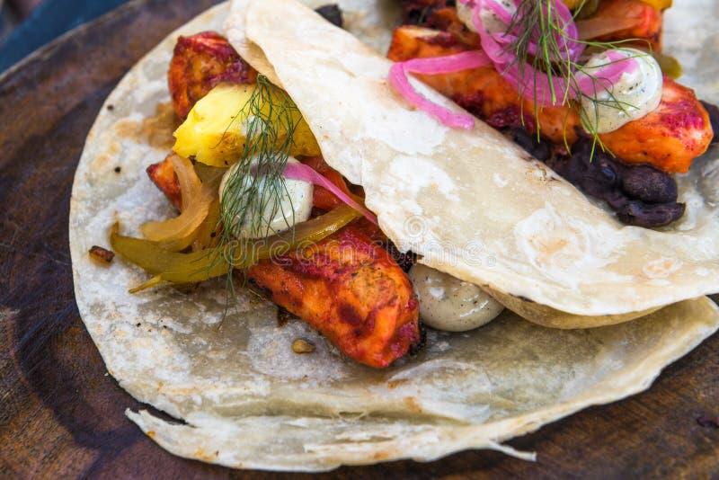 Fish tacos al pastor, authentic mexican cuisine stock image