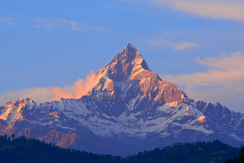 Fish tail mountain view in Annapurna stock images