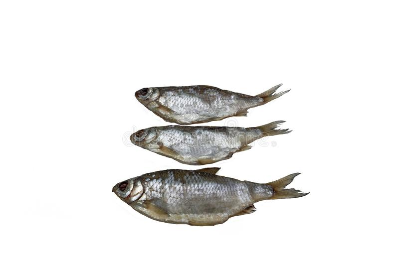 Fish three roach dried. royalty free stock photography