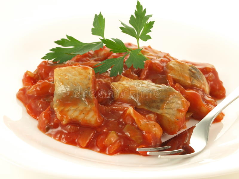 Fish in tomatoes, isolated royalty free stock photo