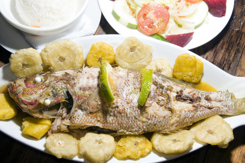 Download Fish Tostones Rice Salad Big Corn Island Nicaragua Stock Image - Image: 13996219