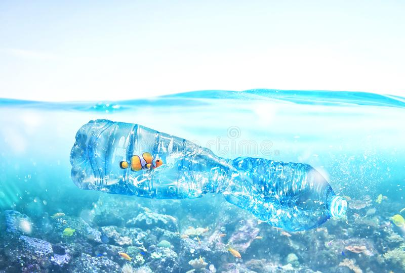 Fish trapped inside a bottle. Problem of plastic pollution under the sea concept. Fish trapped inside a bottle. Worldwide problem of plastic pollution under the vector illustration
