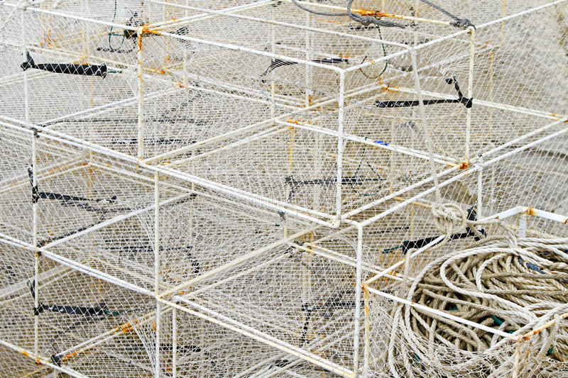 Fish traps cage. Bunch of deep fishing traps cages and nets royalty free stock photography